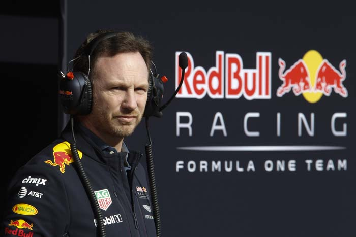 Manager Red Bull Formule 1 met logo op achtergrond