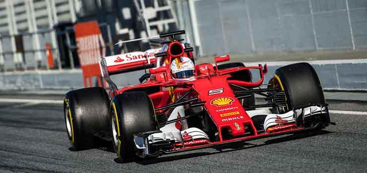 Sebastian Vettel in Ferrari Formule 1-auto